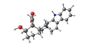 Yohimbine molekylär struktur som isoleras på vit Arkivfoto