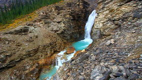 Yoho National Park Canada. Cascades of glacial water below Twin Falls of Yoho National Park in Canada stock footage
