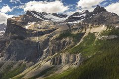 Yoho National Park Mountain Landscape Canadian Rockies. Spectacular Mountain Landscape View of Emerald Glacier and President Peak in Yoho National Park in stock photo