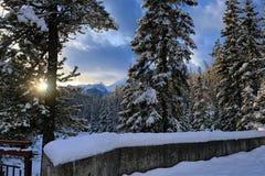 YOHO National Park - paesaggio sotto Montagne Rocciose fotografie stock
