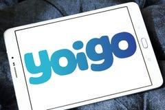 Yoigo telecommunications company logo. Logo of Yoigo telecommunications company on samsung tablet. Yoigo is the fourth largest mobile network operator in Spain Stock Image