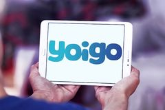 Yoigo telecommunications company logo. Logo of Yoigo telecommunications company on samsung tablet. Yoigo is the fourth largest mobile network operator in Spain Stock Photos