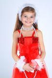 A yoing girl with christmas present smiling Stock Photography