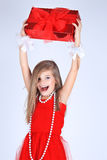 A yoing girl with christmas present smiling Royalty Free Stock Photo