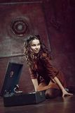 Yoing girl with the gramophone Royalty Free Stock Photos