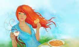 Yoing woman eating cookie and drinking tea. Illustration of yoing redhead woman eating cookie and drinking tea stock illustration