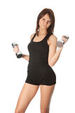 Yoing women doing weight training Royalty Free Stock Photos