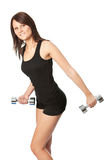 Yoing women doing weight training Stock Photo