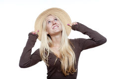 Yoiung girl in hat Stock Photography