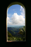 Yokahoo Tower window, looking toward the east point of the Island. Puerto Rico, Caribbean.  Caribbean National Forest, El Yunque Stock Images