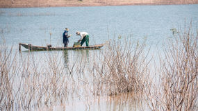 Yokefellow fishermen on the lake in DucTrong- LamDong- VietNam Stock Photography