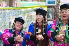 Yokhor mongol de danse de Buryat Photos libres de droits