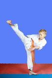 Yoko-geri in performing small boy karate Royalty Free Stock Photo