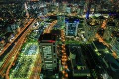 Yokohama τή νύχτα Στοκ Εικόνες