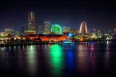 Yokohama alla notte dal pilastro di Osahnbashi Fotografie Stock Libere da Diritti