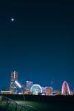 Yokohama alla notte dal pilastro di Osahnbashi Immagini Stock