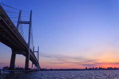 Yokohama Bay Bridge at dusk Royalty Free Stock Images