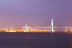Yokohama Bay Bridge at night Stock Images