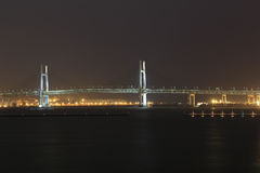 Yokohama Bay Bridge at night. Japan Stock Photography