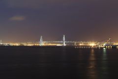 Yokohama Bay Bridge at night Stock Images