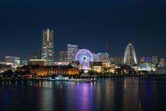 Yokohama, bayside van Minato Mirai bij nacht Stock Foto's