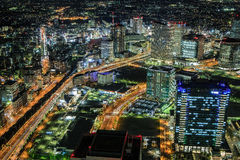 Yokohama bis zum Nacht Stockfotos