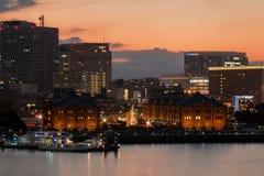 Yokohama Building and Port at sunset in Japan Winter royalty free stock photos