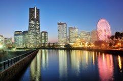 Yokohama building skyline at night Stock Photos