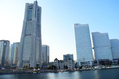 Yokohama city landmark view, Japan, modern buildings around the sea stock photo