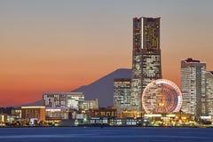 Yokohama city over the Mt. Fuji Royalty Free Stock Image
