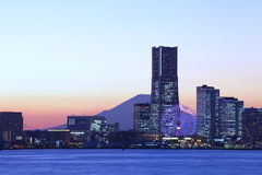 Yokohama city skyline over the Mt  Fuji Royalty Free Stock Images