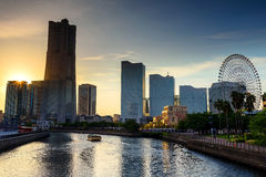 Yokohama cityscape at sunset in Minato Mirai Royalty Free Stock Images