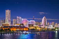 Yokohama Japan. Yokohama, Japan aerial view at Minato Mirai waterfront district Royalty Free Stock Photography