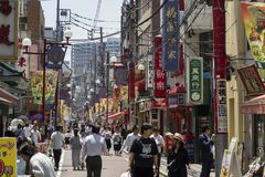 Yokohama - Japan, 16 Juni, 2017; Het kleurrijke en verfraaide winkelen Stock Fotografie