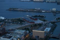 Yokohama - Japan, 15 Juni, 2017; Historische rode Baksteenpakhuizen i Stock Afbeelding