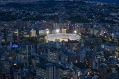 Yokohama - Japan, Juni 15, 2017; Sikt för Yokohama baseballstadion Fotografering för Bildbyråer