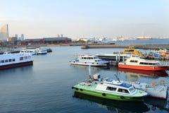 Yokohama, Japan Minato Mirai 21 bay ships and boats royalty free stock photo