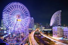 Yokohama, Japan at Night. Royalty Free Stock Photo