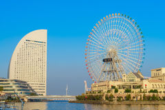 Yokohama,Japan - November 24,2015 : Ferris wheel at cosmo world. Fun park at minato mirai , Yokohama is the third biggest city in Japan royalty free stock photo