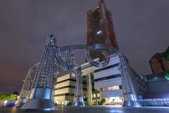 Architecture of Yokohama cityat night. Yokohama, Japan - November 6, 2016 : Metal Sculpture at Yokohama Landmark tower. Landmark Tower, located in the Minato Stock Photography