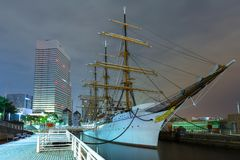 Nippon Maru sailing ship in Yokohama at night. Yokohama, Japan - November 6, 2016 :  Nippon Maru sailing ship in Yokohama at night, Japan. Nippon Maru was built Royalty Free Stock Photos