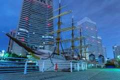 Nippon Maru sailing ship in Yokohama at night. Yokohama, Japan - November 6, 2016 :  Nippon Maru sailing ship in Yokohama at night, Japan. Nippon Maru was built Stock Image