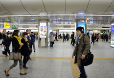 Yokohama, Japan - November 27: people who cross train station in Stock Image
