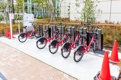 Yokohama, Japan November 6, 2014: Urban bike rental station Stock Photography