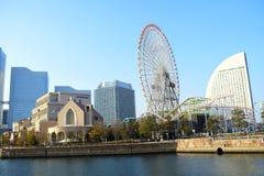 Yokohama city landmark Minato Mirai 21 view, Japan, modern buildings around the sea stock images