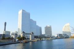 Yokohama city landmark Minato Mirai 21 view, Japan, modern buildings around the sea stock photo
