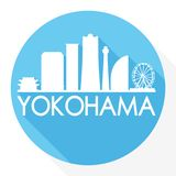 Yokohama Japan Round Icon Vector Art Flat Shadow Design Skyline City Silhouette Template Logo royalty free illustration
