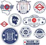 Yokohama, Japan. Set of stamps and signs Royalty Free Stock Photography