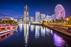 Yokohama Japan. Yokohama, Japan skyline at Minato Mirai waterfront district Royalty Free Stock Images