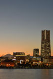 Yokohama, Japan skyline with mount Fuji Stock Images